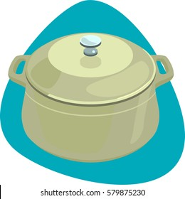 Dutch oven. Closed cast-iron pot with handles. Isolated. On blue background.