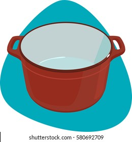 Dutch oven. Empty enameled cast-iron pot with handles. Isolated. On blue background.