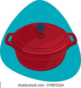 Dutch oven. Round cast-iron red pot with handles. Isolated. On blue background.