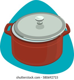 Dutch oven with slightly open stainless lid. Empty oval enameled cast-iron red pot. Isolated. On blue background.
