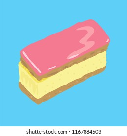 Dutch pastry, called Tompouce or Tompoes, with puff pastry, custard and pink icing. Light blue background.