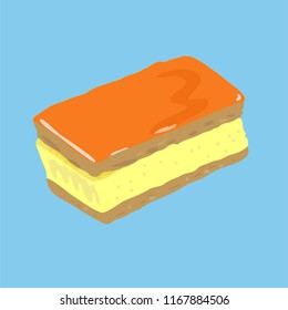 Dutch pastry, called Tompouce or Tompoes, with puff pastry, custard and orange icing. Eeaten on King's Day, when the king's birthday is celebrated.