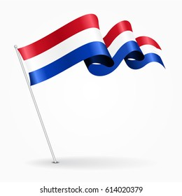Dutch pin icon wavy flag. Vector illustration.