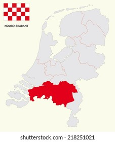 dutch province north brabant, map with flag
