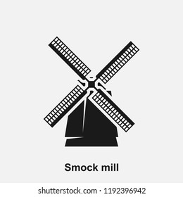 Dutch smock windmill vector icon isolated on white background.