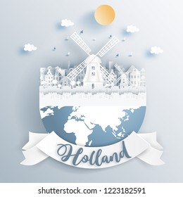 Dutch windmill of Holland with famous landmarks on earth in paper cut style vector illustration.