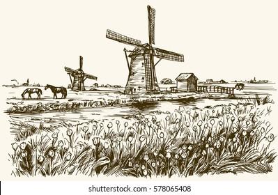 Dutch windmill, romantic landscape.