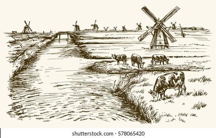 Dutch windmill, romantic landscape with cows.