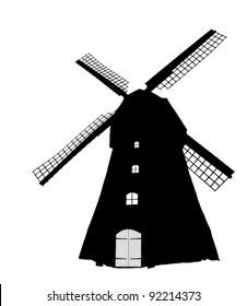 Dutch windmill silhouette (vector)