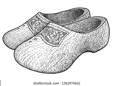 Dutch wooden clogs illustration, drawing, engraving, ink, line art, vector
