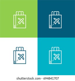 Duty free green and blue material color minimal icon or logo design