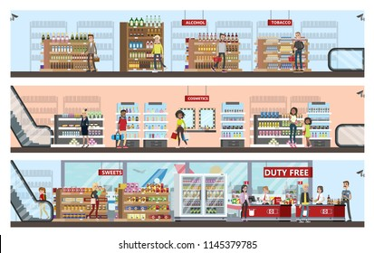 Duty free interior in the airport building. People buying cheap products: alcohol, perfume and chocolate. Tax free. Vector flat illustration