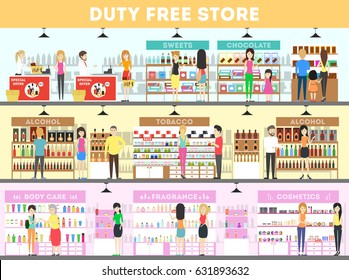 Duty free interior set. People in the airport buying food, drinks and more.