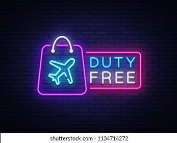 Duty Free neon sign vector. Duty Free design template neon sign, light banner, neon signboard, nightly bright advertising, light inscription. Vector illustration