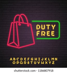 Duty Free Shop Neon Light Glowing Vector Illustration Alphabet Neon