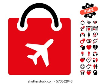 Duty Free Shopping icon with bonus valentine images. Vector illustration style is flat iconic intensive red and black symbols on white background.