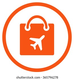 Duty Free Shopping vector icon. Style is flat circled symbol, orange color, rounded angles, white background.