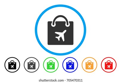Duty Free Shopping vector rounded icon. Image style is a flat gray icon symbol inside a blue circle. Bonus color variants are gray, black, blue, green, red, orange.