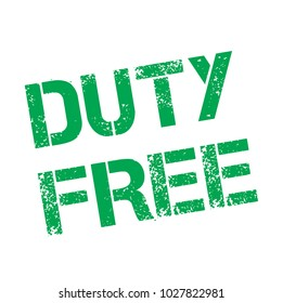 Duty Free stamp. Typographic label, stamp or logo