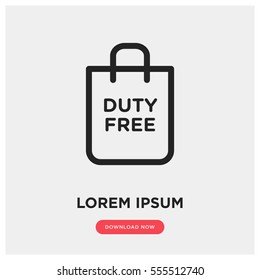 Duty free vector icon, bag symbol. Modern, simple flat vector illustration for web site or mobile app