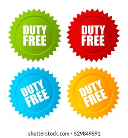 Duty free vector label set illustration isolated on white background. Duty free sticker set.