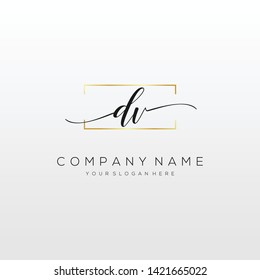 DV handwriting initial logo template vector.