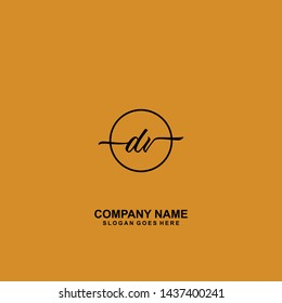 DV Initial handwriting logo template vector