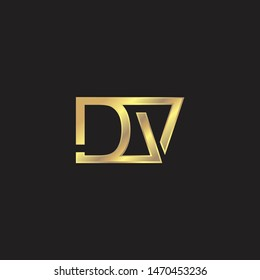DV Initial logo Capital Letters Gold colors