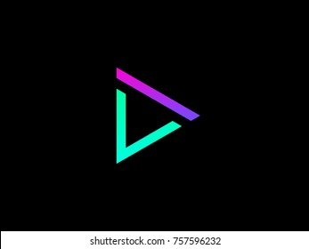 DV letter logo. Creative emblem for corporate identity. Letter D and V logo design. Vector geometric colorful triangle logo on black background