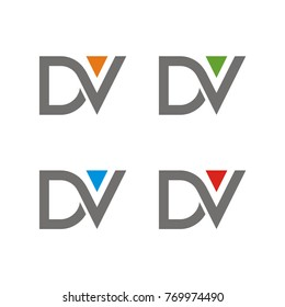 DV logo initial letter design template vector illustration