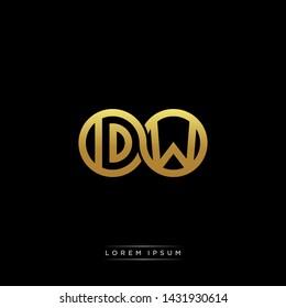 DW initial letter linked circle capital monogram logo modern template