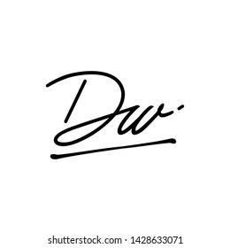 DW initial signature logo. handwriting logo template vector,