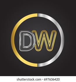 DW Letter logo in a circle. gold and silver colored. Vector design template elements for your business or company identity.