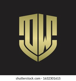 DW Logo monogram with emblem shield shape design isolated gold colors on black background