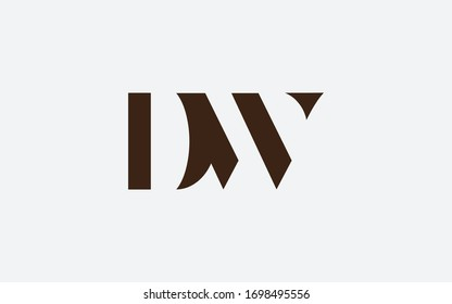 DW or WD and D or W Letter Initial Logo Design, Vector Template