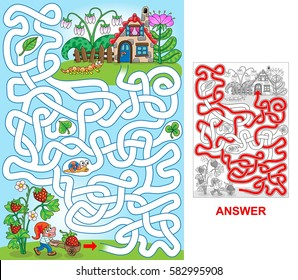 Dwarf house. Help dwarf to find a path to house. Labyrinth for kids. Portrait, easy.