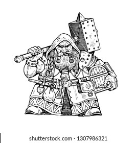 Dwarf with warhammer illustration. Isolated vector graphic.