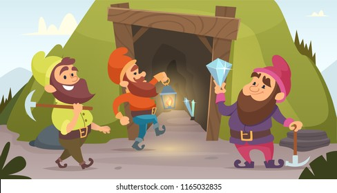 Dwarves in the mine. Vector characters of dwarves which mine golden rocks. Illustration of dwarf miner, gnome with pick