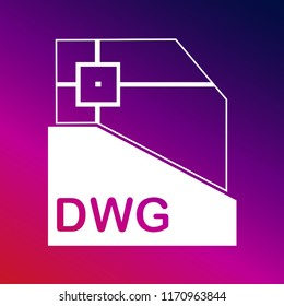 DWG file format variant icon vector illustrator creative design purple and pink gradient background