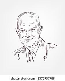 Dwight David Eisenhower  usa president vector sketch portrait