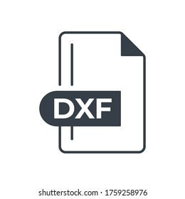 DXF File Format Icon. DXF extension filled icon.
