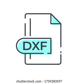 DXF File Format Icon. DXF extension line icon.