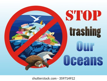 Dying marine animals and birds near the pile of plastic waste in the ocean framed by prohibiting sign. Dolphin calls for help. Turtle eating cellophane package.