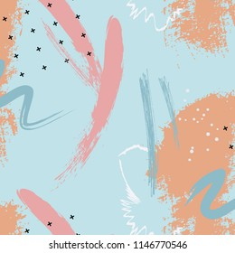 Dynamic Abstract background. Watercolor spring blue orange paint texture. Acrylyc splash banner decoration. Contrast seablue shape. Minimalistic contemporary artwork