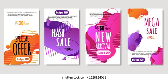 Dynamic abstract fluid mobile for sale banners. Sale banner template design, Mega sale special offer set. design for flyer, gift card,  Poster on wall ,coverbook,  banner, social media posted