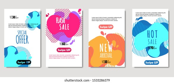 Dynamic abstract fluid mobile for sale banners. Sale banner template design, Mega sale special offer set. design for flyer, gift card,  Poster on wall ,coverbook,  banner, social media