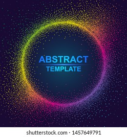 Dynamic abstract scattering particles background made of colored neon specks. Vector illustration.