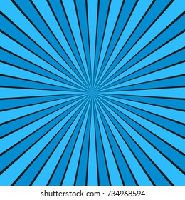 Dynamic abstract sun rays background - light blue comic vector graphic design from radial stripe pattern
