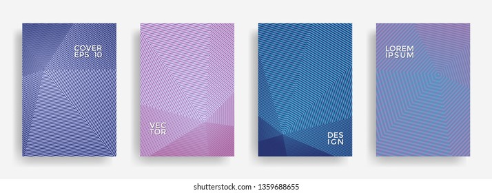 Dynamic annual report design vector collection. Halftone lines texture cover page layout templates set. Report covers graphic design, business brochure pages corporate templates.