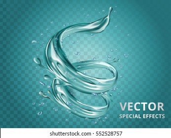 Dynamic aqua elements, special editable effect for design in 3d illustration